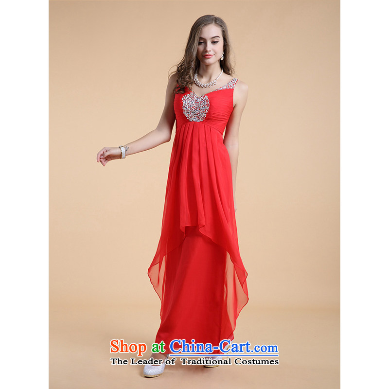 158 multimedia?2015, guoisya Red deep V bridesmaid to serve Evening Compere temperament evening dresses 351 RED?M