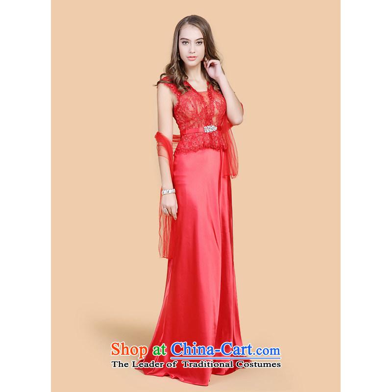158 multimedia�2015, guoisya winter evening dress, V-Neck long gathering Sau San performance long skirt red�L-pre-sale