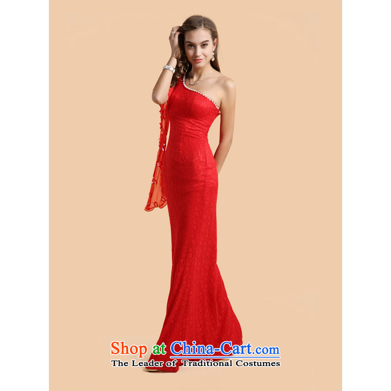 158 multimedia, Europe and the red to shoulder temperament Beveled Shoulder dress bride bows banquet evening dresses red?XL