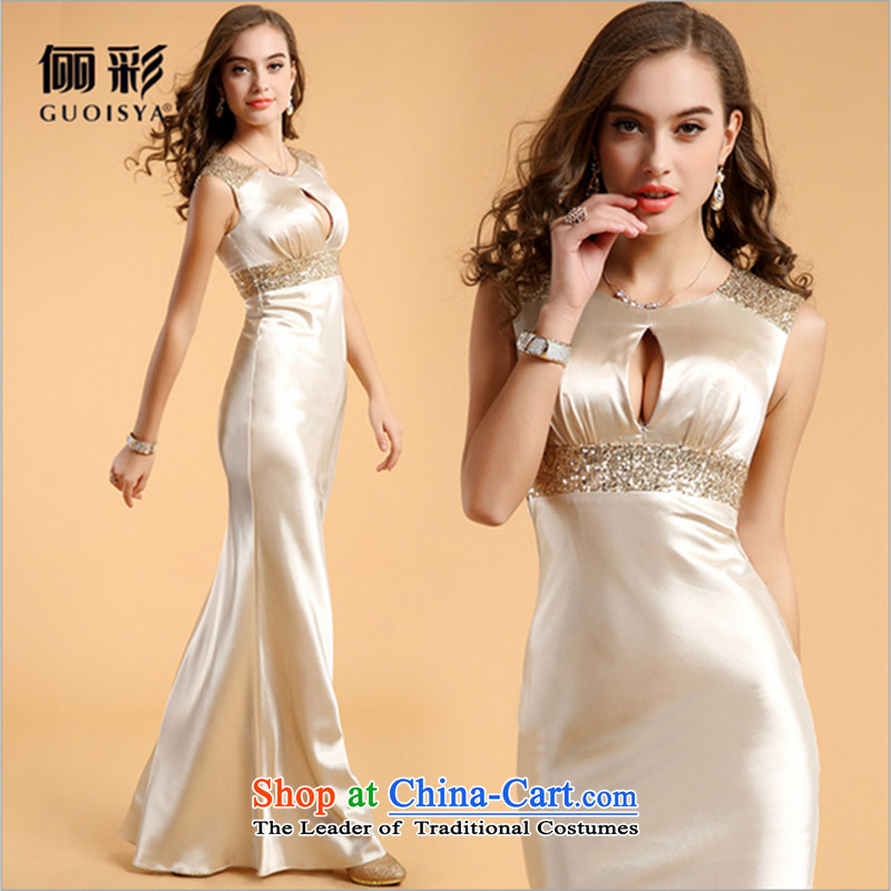 158 multimedia?2015 guoisya evening dresses wedding dresses annual meeting chaired temperament dress long golden?M