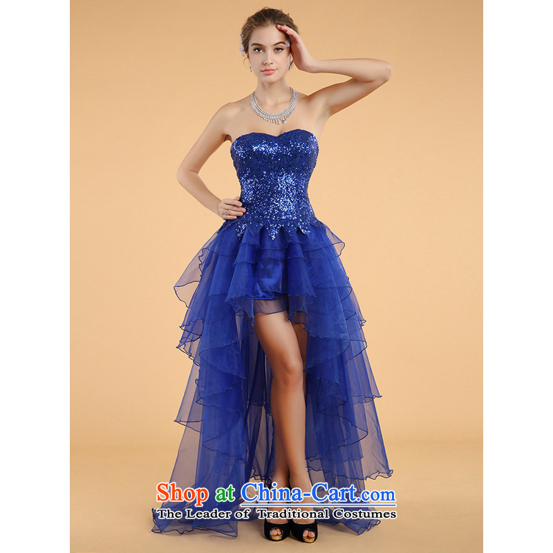 158 multimedia�2015) blue dress will erase the chest after a short skirt foreign trade dress toasting champagne long gown Blue�M
