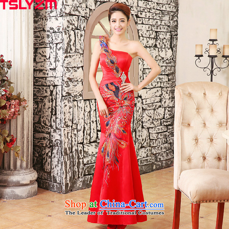 Tslyzm wedding dresses new 2015 autumn and winter crowsfoot qipao bride bows Services Red Dress Beveled Shoulder red wedding dress female red XL