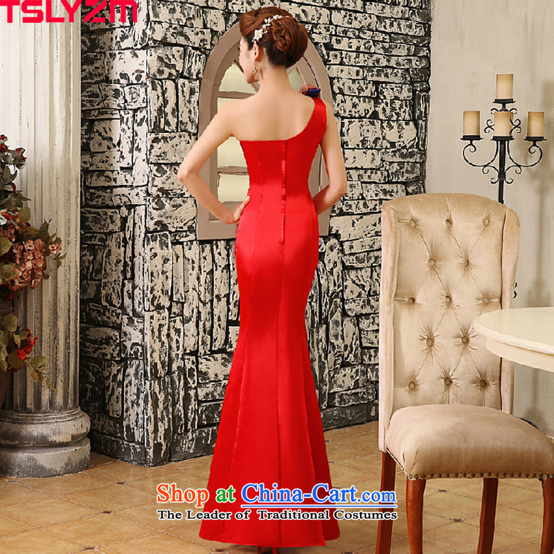 Tslyzm wedding dresses new 2015 autumn and winter crowsfoot qipao bride bows Services Red Dress Beveled Shoulder red wedding dress female red xl,tslyzm,,, shopping on the Internet