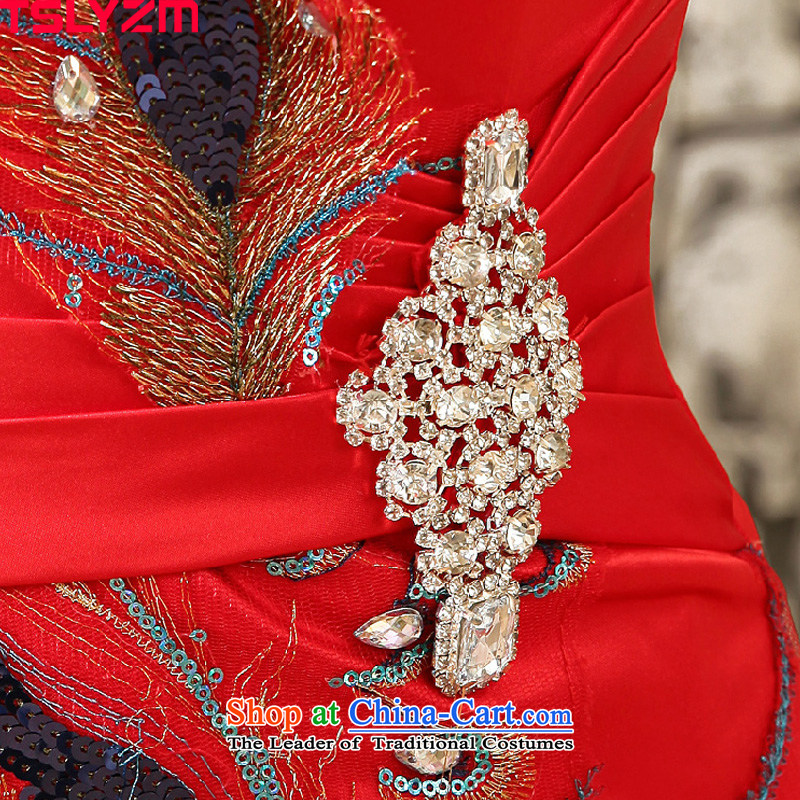 Tslyzm wedding dresses new 2015 autumn and winter crowsfoot qipao bride bows Services Red Dress Beveled Shoulder red wedding dress female redxl,tslyzm,,, shopping on the Internet