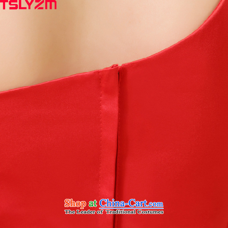 Tslyzm wedding dresses new 2015 autumn and winter crowsfoot qipao bride bows Services Red Dress Beveled Shoulder red wedding dress female red聽xl,tslyzm,,, shopping on the Internet