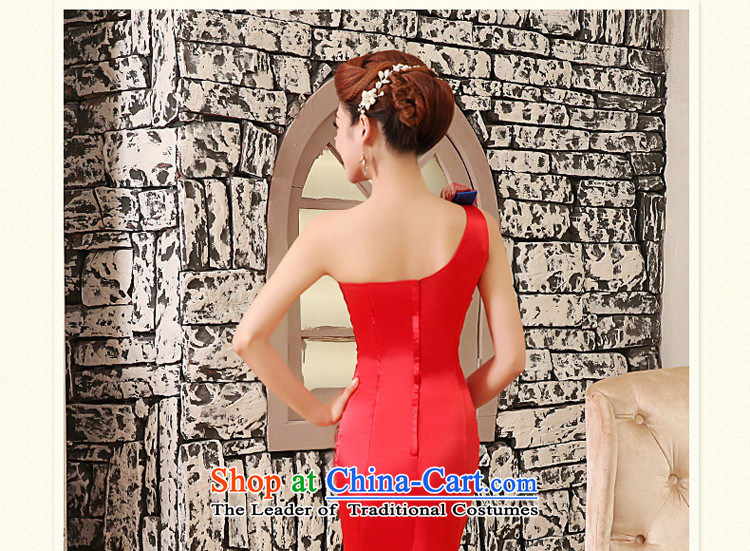 Tslyzm wedding dresses new 2015 autumn and winter crowsfoot qipao bride bows Services Red Dress Beveled Shoulder red wedding dress female redXL Photo, prices, brand platters! The elections are supplied in the national character of distribution, so action, buy now enjoy more preferential! As soon as possible.