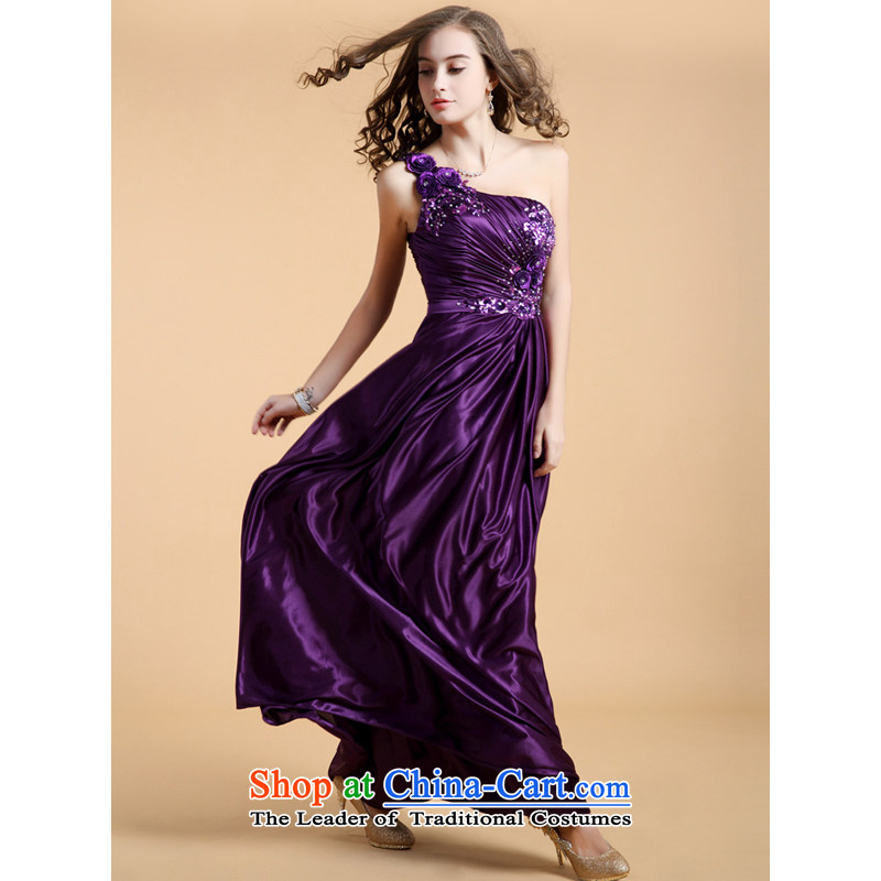 158 multimedia temperament single guoisya shoulder length high waist wedding dress Sau San Company Annual evening purple?S