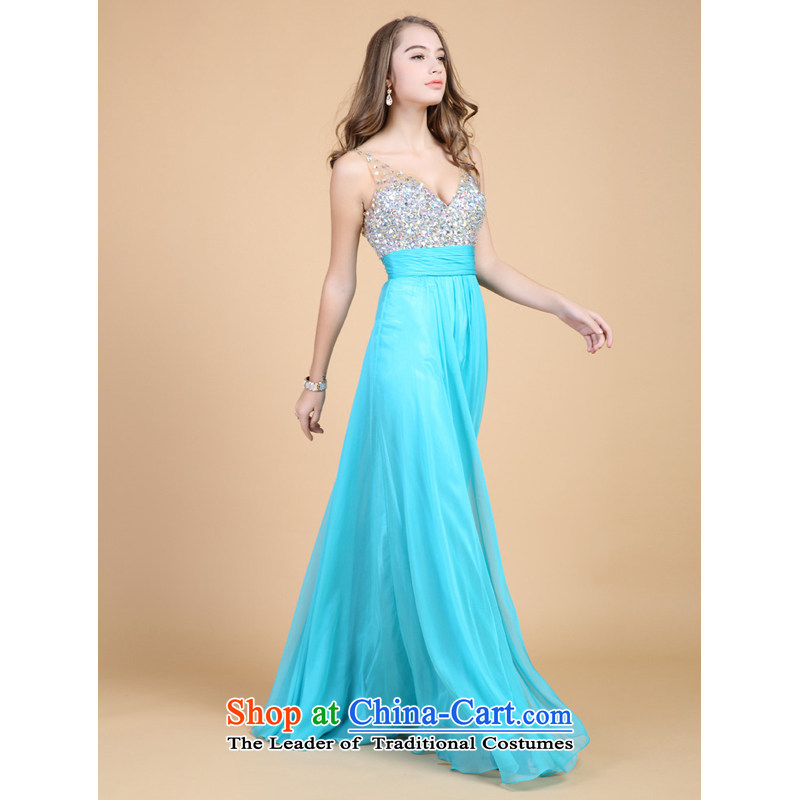 Li also deep v guoisya stylish long gown annual meeting under the auspices of the evening dress 61301 Lake Blue?M