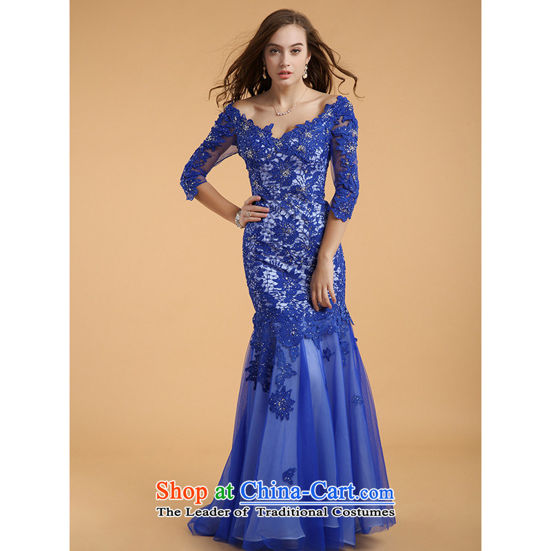 158 multimedia�2015, guoisya long tail crowsfoot skirt deep V-Neck long-sleeved foreign trade dress blue�XL
