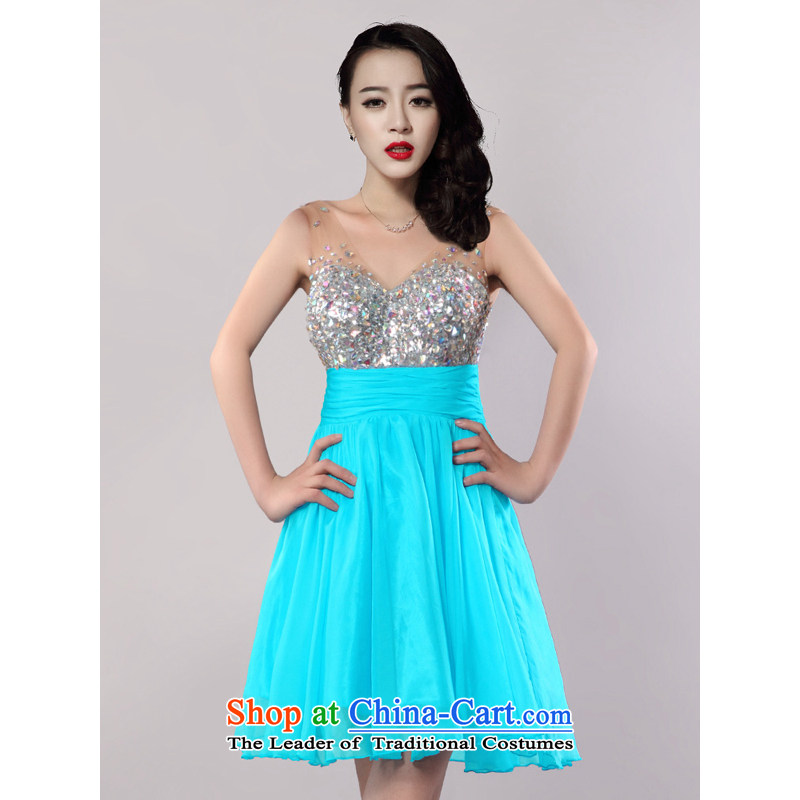 158 multimedia spring_summer 2014, small dress short skirt fresh Korea Princess Sau San Edition Diamond Jewelry marry dress uniform lake bows blue?XL