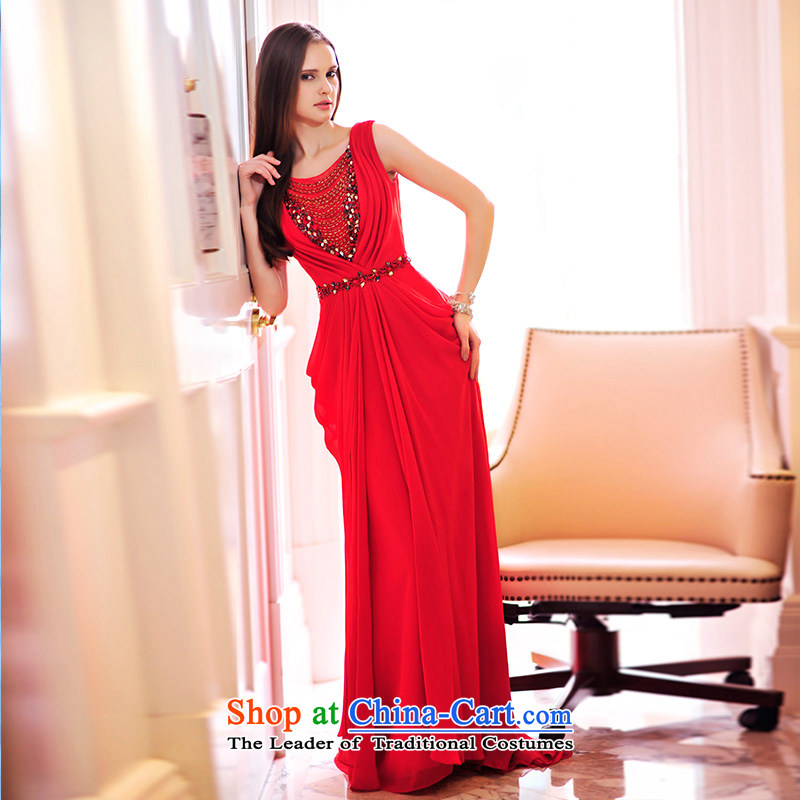 Full Chamber Fang?2015 Spring new bride wedding dresses?V-Neck back chiffon evening banquet service?L21465 bows?Red?15cm tail tailored