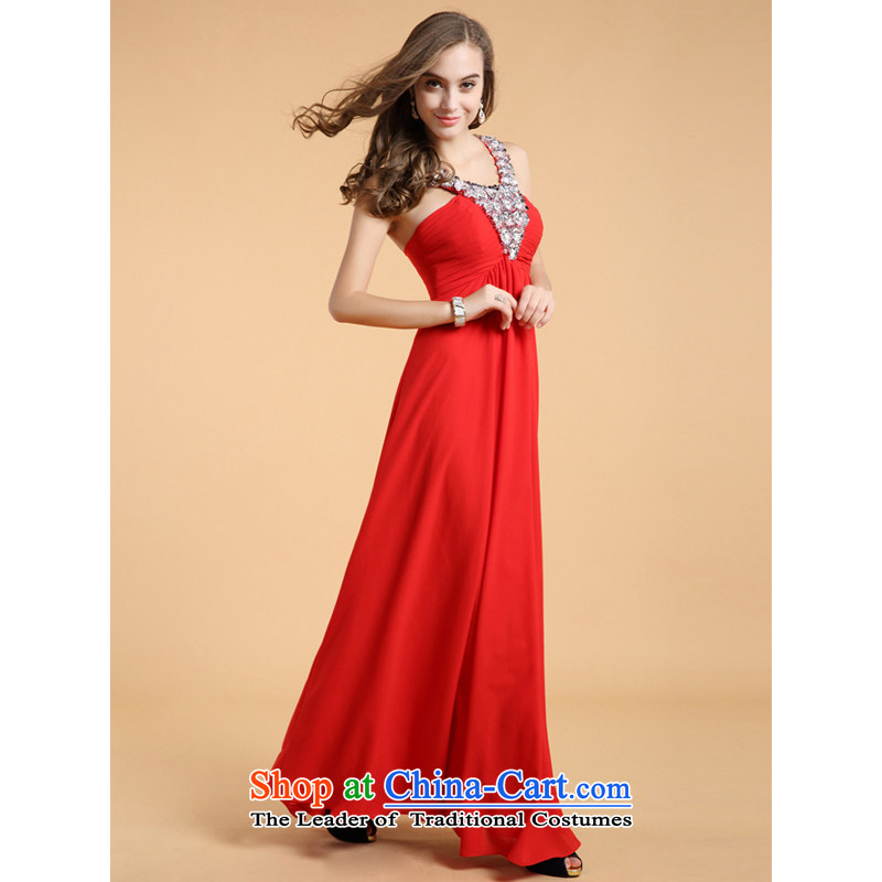 158 multimedia?2013 guoisya stylish graphics thin diamond jewelry company annual meeting also hang Evening Compere dress 81303 Red?M
