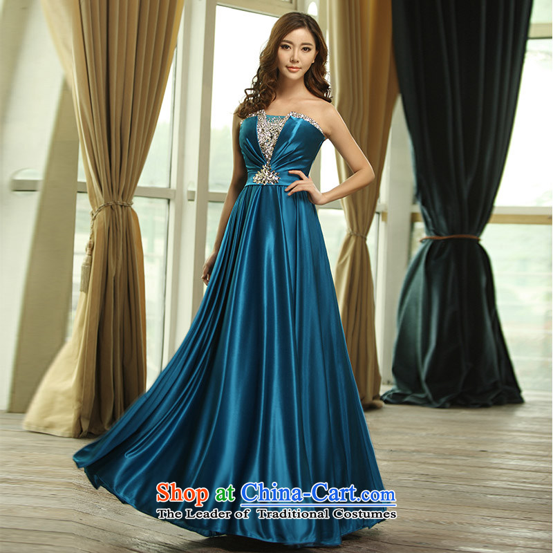 2015 new wiping the scoops Diamond Engraving long skirt bridal dresses bows bridesmaid skirt L0398 services tailored blue
