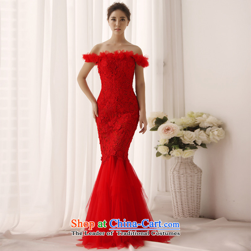 2015 new crowsfoot dress the word shoulder bride services evening dresses and bows chest) Red L0395 tailored red