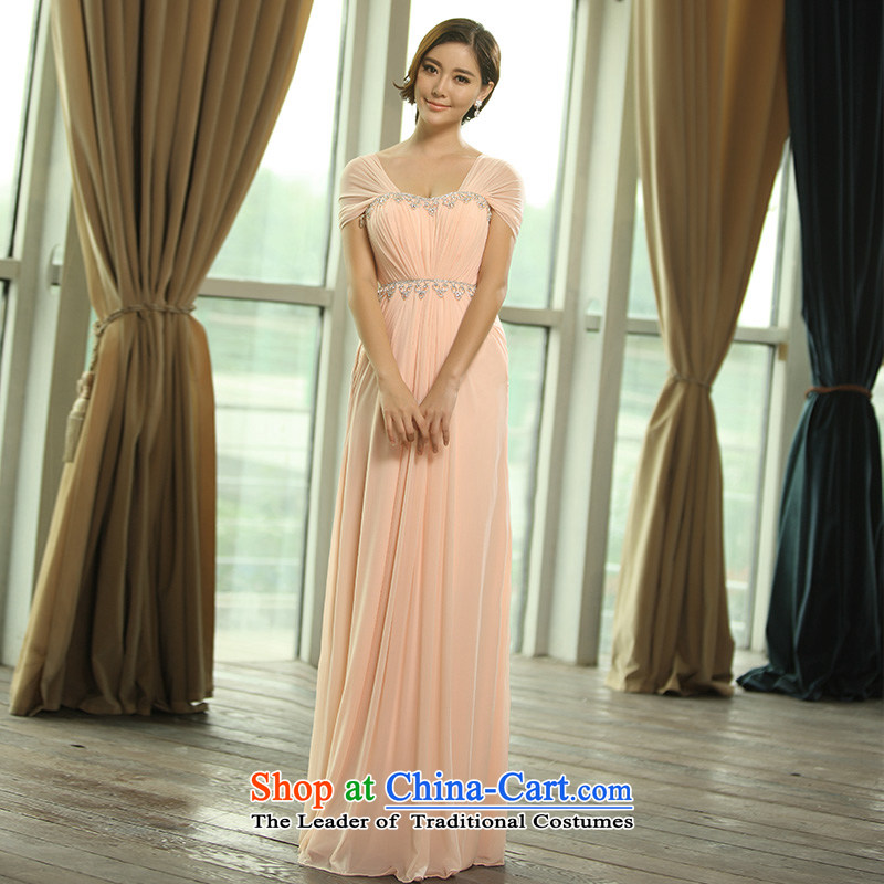 2015 new package shoulder straps, bridal wedding dress bows services evening dresses evening L0393 light pink tailored