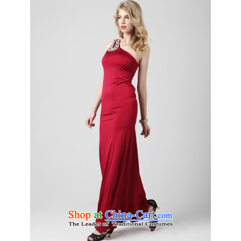 158 multimedia?2015 winter evening dress) long wine red Korean version of the waist shoulder dress?guoisya?wine red?M