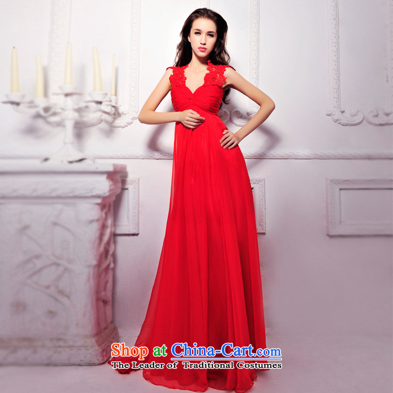2015 new wedding dresses Summer Package red shoulder V-Neck long Princess Bride Dinner Sau San bows services 1260 Red?165-S