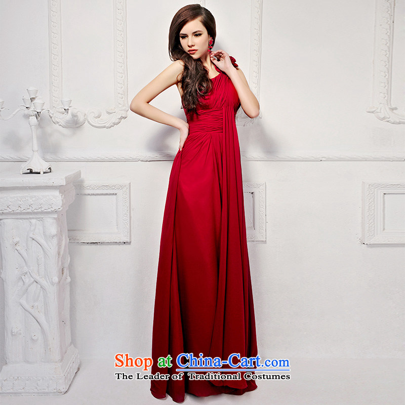 2015 new Korean long red wedding dress shoulder The Princess Bride Video Height bows evening dresses 919 deep red?165-M