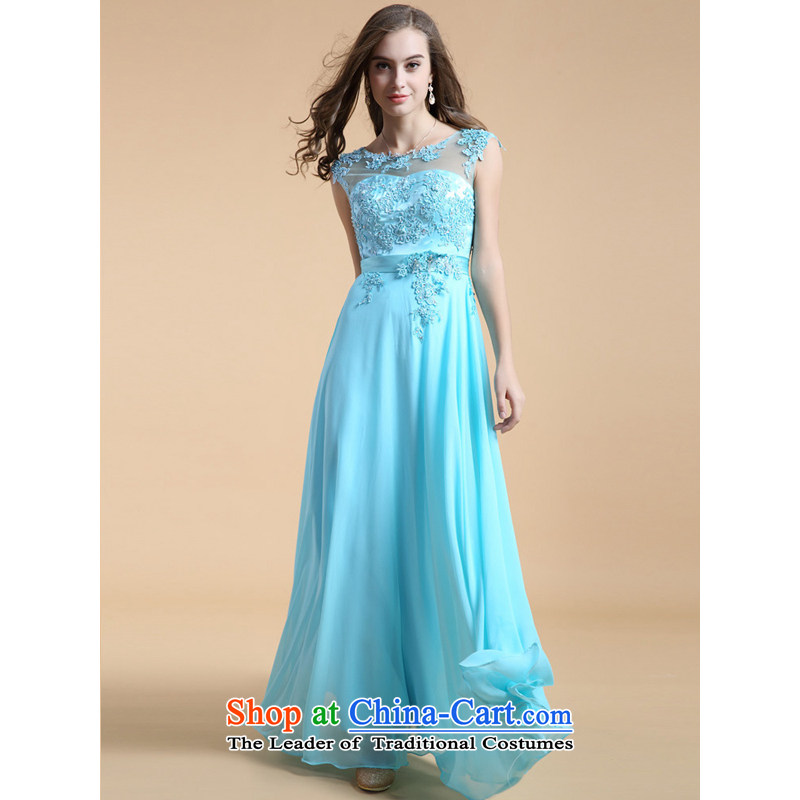 158 color?embroidery guoisya 2015 lace evening dress long bridesmaid banquet with foreign trade dress light blue?S