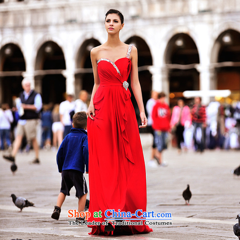 2015 new full Chamber Fong MTF Venice real-Shoot Single shoulder in sweet bride chest wiping the waist marriage wedding dresses L21451 tailored red