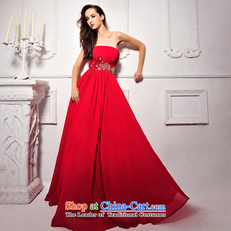 2015 new full version only Korea Chamber Fong chest marriage wedding video thin red long bows L1291 dress red?173-M Banquet