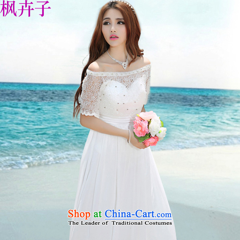 Maple Hui Sub 2015 Summer new wedding dresses long skirt F7019 white?L