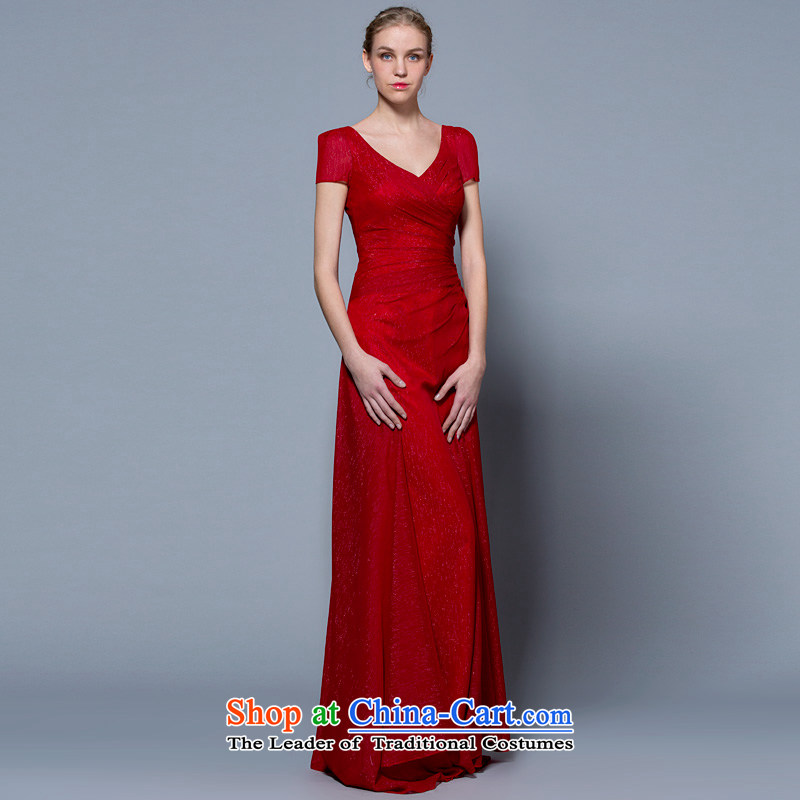 A lifetime of wedding dresses 2015 new package shoulder V-Neck long bride toasting champagne Sau San services 30240892 Red deep red?155/82A 30 days pre-sale