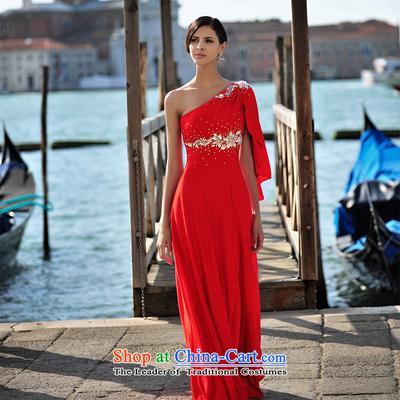 2015 new summer full Chamber Fong MTF Venice real-Shoot Single fly in the Cuff waist shoulder sweet to align the red dress uniform L21448 bows red?165-M