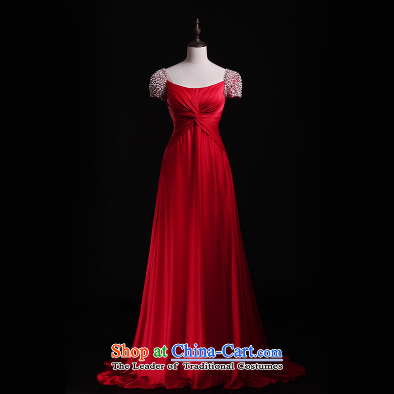Full Chamber Fang 2015 new wedding dresses bride bows services package Shoulder Strap Sleeve length_ Red Dress L21419 tailored red