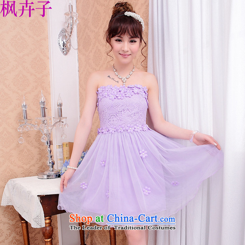 Maple Hui Sub 2015 Spring New Bridesmaid Dress Short, lace small dress sister skirt dress F531 bows light purple are code