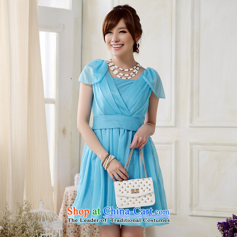 ?The Korean version of style and sisters Jk2.yy skirt?V-Neck Foutune of black shoulder bridesmaid skirt lanterns with small dress dresses?J9906?BLUE?XXL