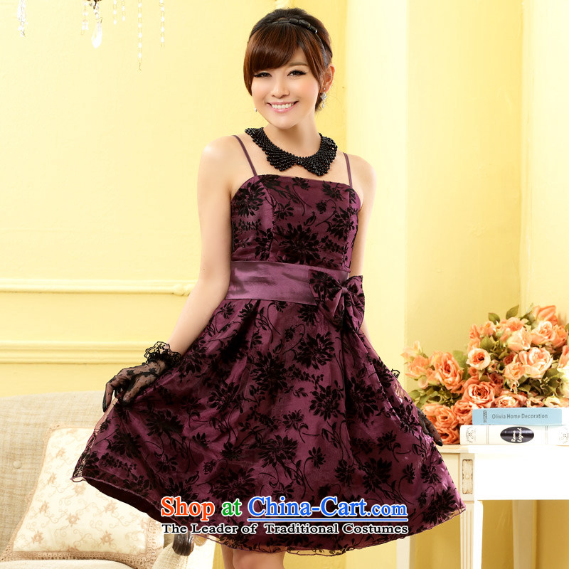 ??Western style modern Jk2.yy evening dress end of Sau San chest sister Princess small dress dresses?J9705?PURPLE?XL