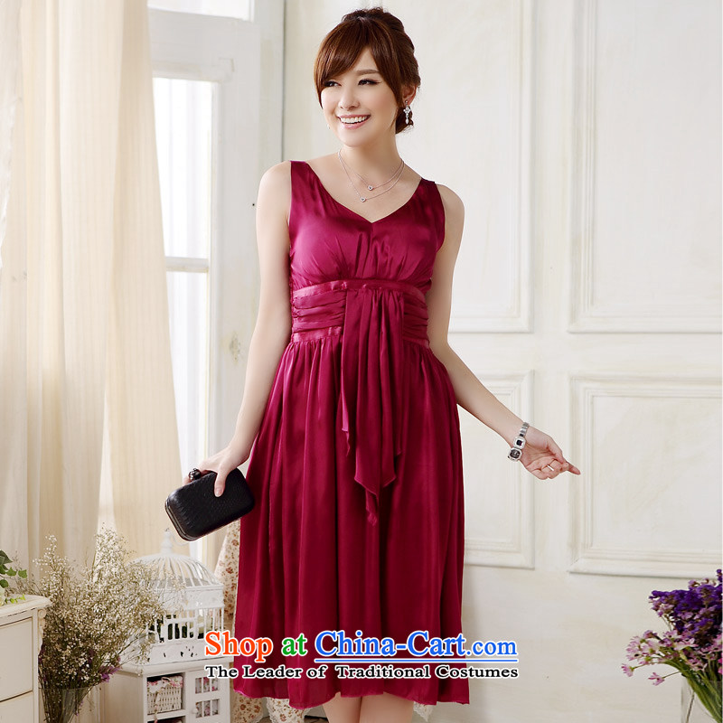 ?Europe and the 1880 package Jk2.yy scoops V-Neck evening dress emulation large gathering of elegant silk dress dresses?J9808?RED?XL