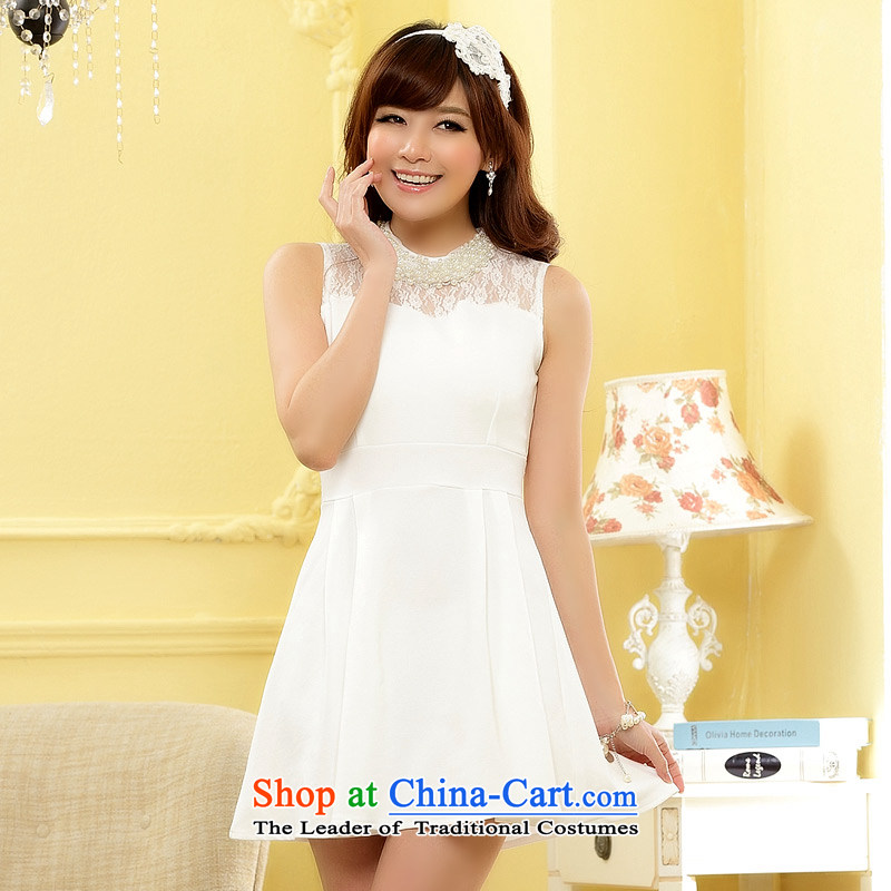 2014 new gathering Jk2.yy sweet MM studs for Pearl River Delta Minister Wai cuff Foutune of large numbers of small dresses in the skirt the skirt?J9608??XXXL White