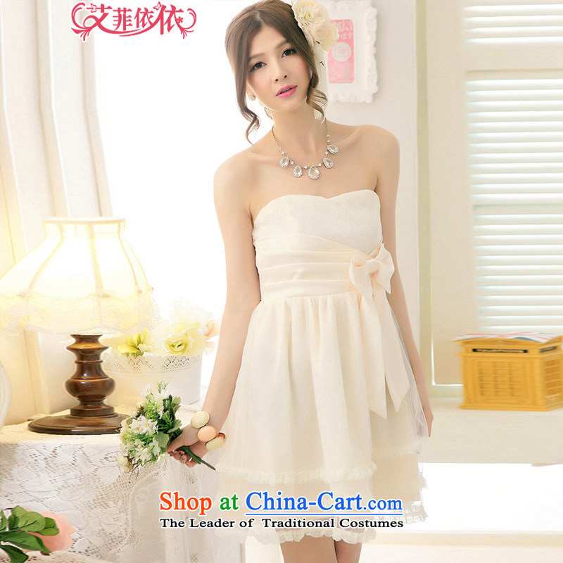 Reft Eiffel gauze Bow Ties With chest small dress short version of Korea 2015 Marriage banquet hosted bride bridesmaid wedding bows and sisters were 5,245 apricot color is skirt code