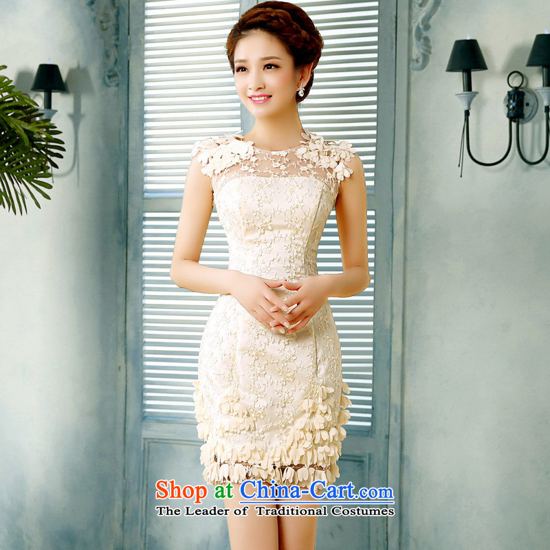 Mrs Alexa Lam roundup new 2014 Summer lace small dress shoulders short of Sau San brides petals marriage evening drink service 15161 champagne color聽PUERTORRICANS waist 2.0_