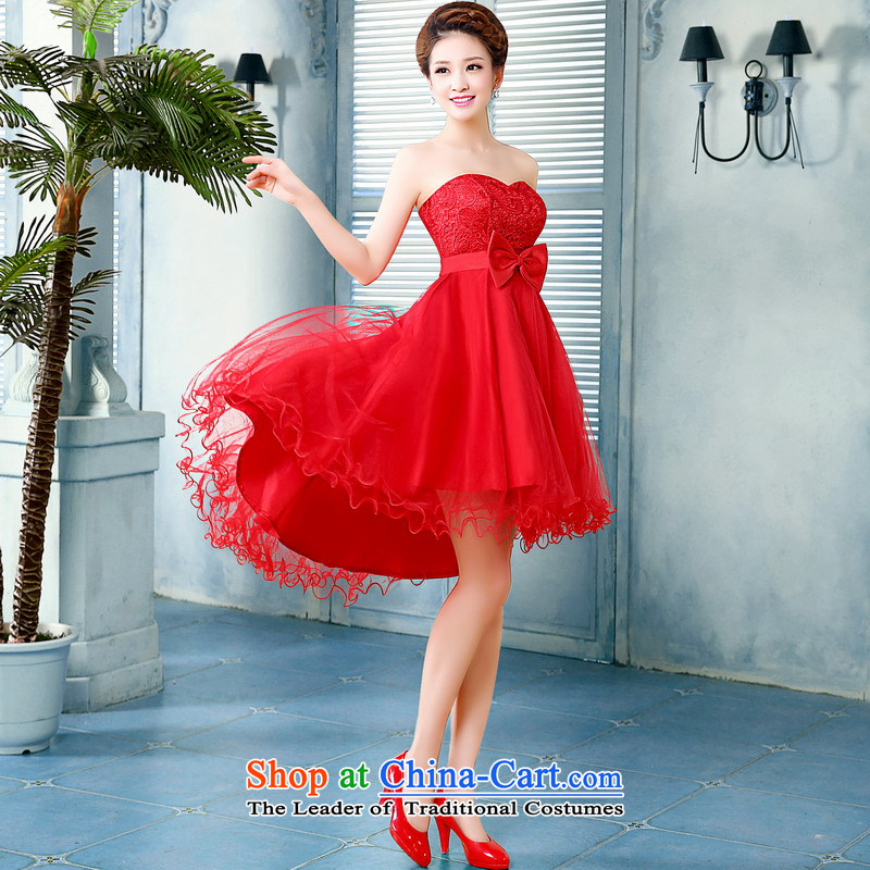 Mrs Alexa Lam roundup bridesmaid small short skirts 2014 new marriages red bows before serving short long after 15261, small Dress Short RED?M waist 2.1)