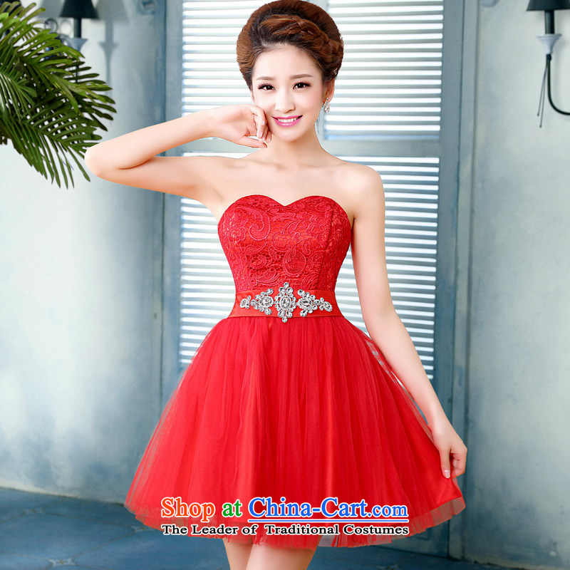 Mrs Alexa Lam roundup new 2014 wedding dresses short_ bows dress marriages with bore lace Red Dress 15861 small festive red聽L waist 2.4_