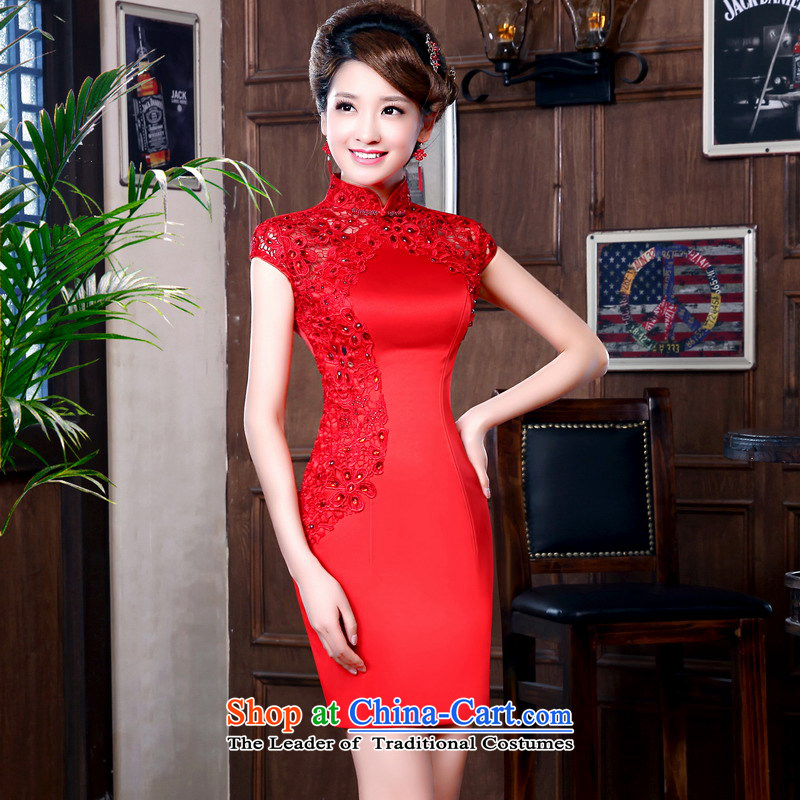 Mrs Alexa Lam roundup marriages red bows Services New 2014 short-sleeved lace summer staple drill improved short qipao 16851 Red聽XXL_ waist 2.4_