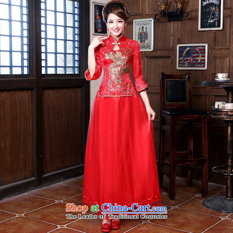 Mrs Alexa Lam roundup new 2014 Marriage collar dress Chinese Dress bride-packaged services 18058 bows red?2XL( waist 2.4)