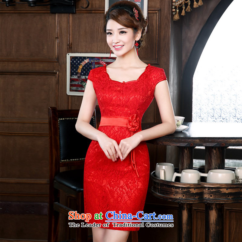 Mrs Alexa Lam roundup new summer short-qipao marriages bows services improved Chinese beauty Red Dress 18151 Red聽L waist 2.2_