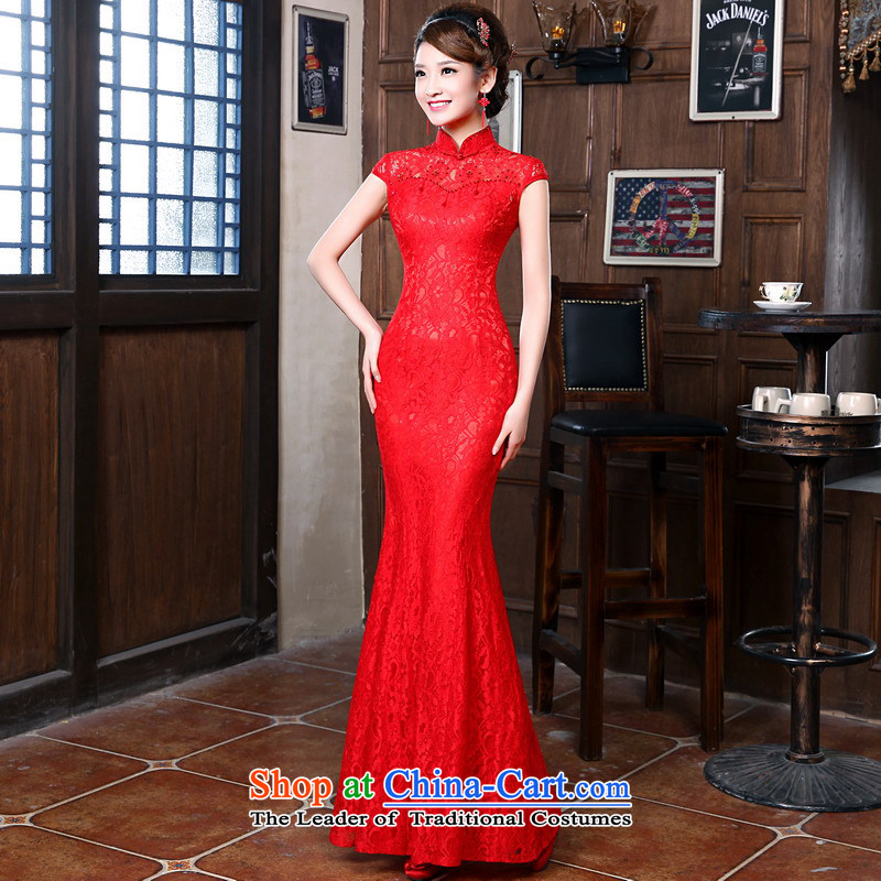 Mrs Alexa Lam roundup bride lace Chinese long evening dresses new 2014 Marriage bows services improved qipao 18252 stylish red XXL( waist 2.4)