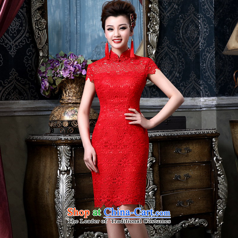 Mrs Alexa Lam Roundup 2014 new wedding dresses red short of water-soluble lace short-sleeved qipao Chinese Sau San performance bows services 183 red PUERTORRICANS waist 2.0) pre-sale within 10 days
