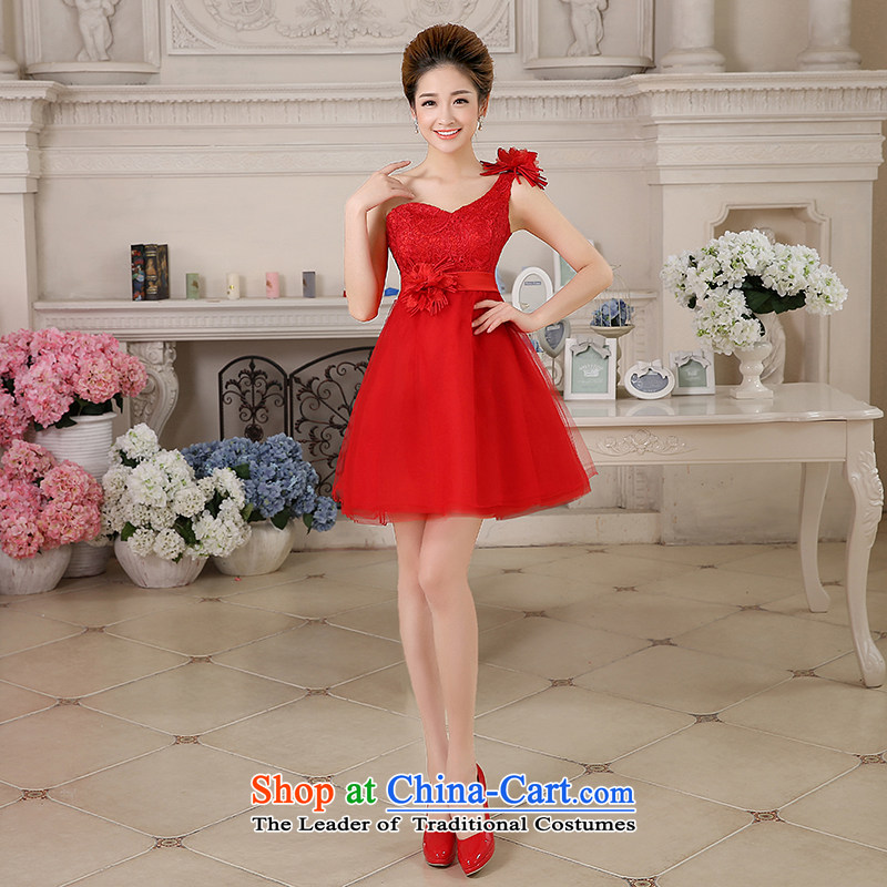 The HIV NEW 2015 wedding dresses Korean lace wiping the chest wall also bow tie shoulder flowers bride evening dress uniform�L0042 bows�red�(B) * single shoulder) M