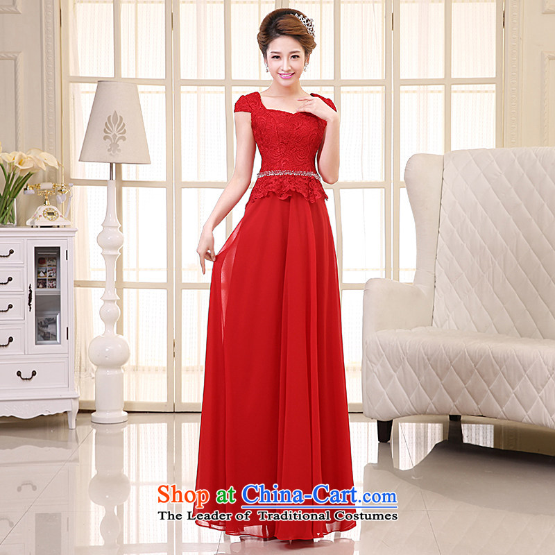 The HIV NEW 2015 wedding dress bride bows services long marriage lace Sau San video evening dress elegant princess thin skirt�L0038�RED�M
