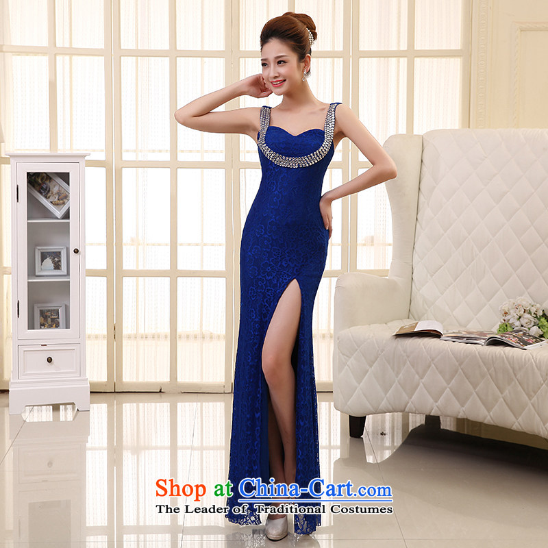 The HIV NEW 2015 wedding dress bride bows services long marriage lace crowsfoot high on the forklift truck Sau San evening dresses diamond shoulders L0035 sapphire blue聽XL