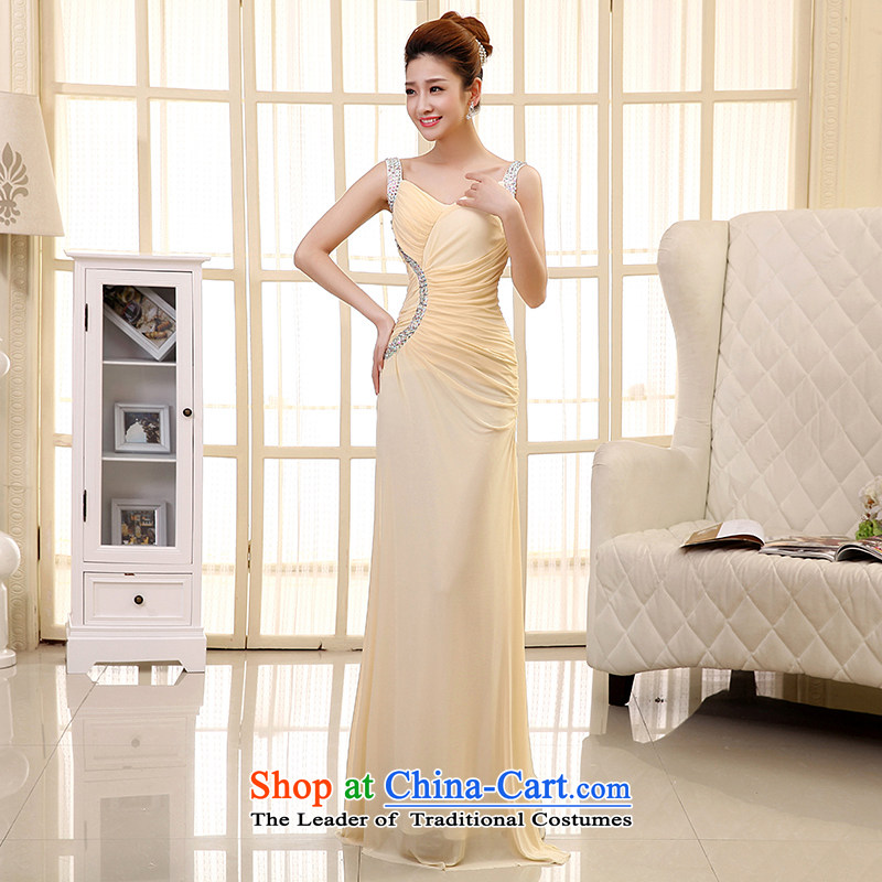 The HIV NEW 2015 wedding dresses long marriages bows dress stylish Shoulder Drill Sau San evening dress will�L0034�light champagne color�XL