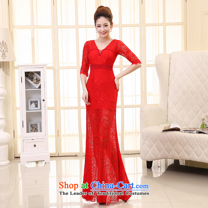 The HIV NEW 2015 wedding dress bride bows long gown marriage 7 cuff lace crowsfoot deep V dress L0033 Sau San Red XL
