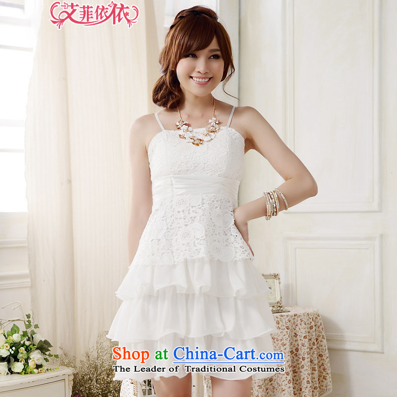 Of the glued to the sweet cake princess straps small dress skirt?2015 Korean New short) chiffon lace stitching strap sister dresses 5264 White?XXXL code