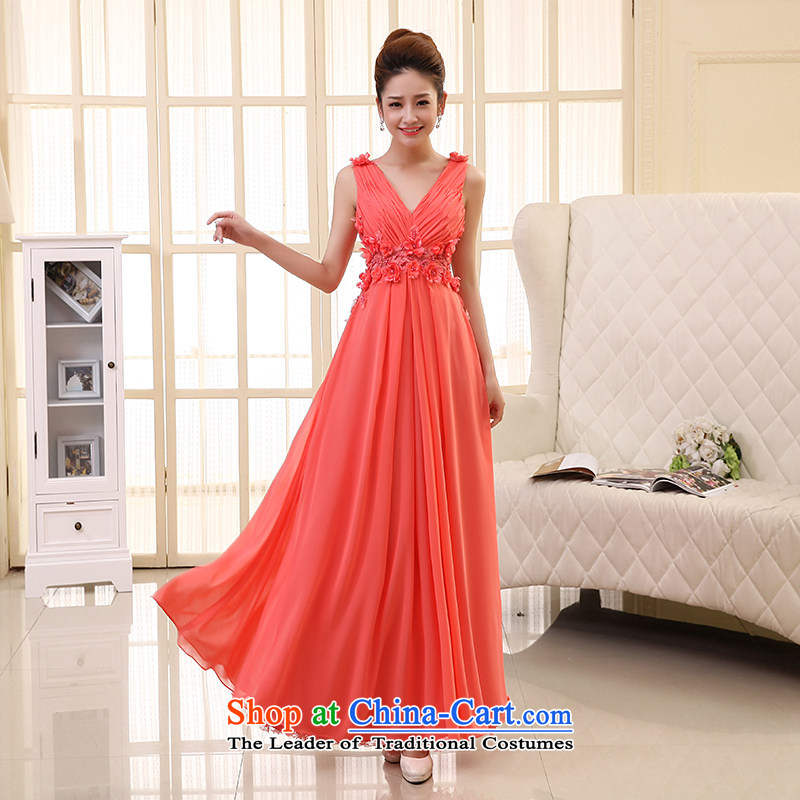 The HIV NEW 2015 wedding dress bride bows long dresses and stylish shoulders deep V manually Korean flower dress L0032 Sau San watermelon red L